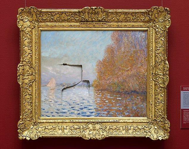 """49 yaşındaki Andrew Shannon isimli adam ünlü ressam Monet'nin, Dublin, İrlanda'daki Ulusal Galeri'de bulunan """"Argenteuil Havzası"""" (1874)  isimli 8 milyon Sterlin (Yaklaşık 35.5 milyon TL) değerindeki tablosuna yumruk atarak parçaladı."""
