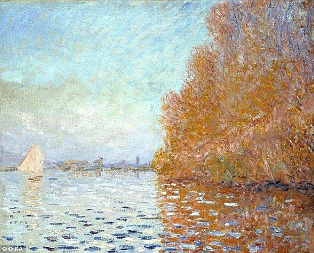 Monet'in 55 cm x 65 cm'lik bu yağlı boya tablosu, şimdi ultraviyole filtreli, koruyucu camın arkasında korunuyor.