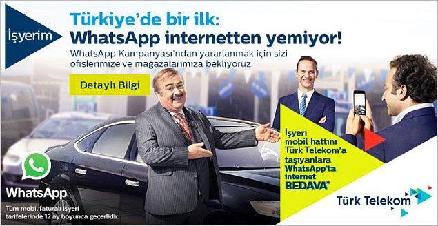 Türk Telekom sayesinde sevdiklerinizle Whatsapp'da Wi-Fi a bağlı olmadan gönlünüzce mesajlama keyfi başlasın! Hem de tarifenize hiç bir ücret yansımadan.