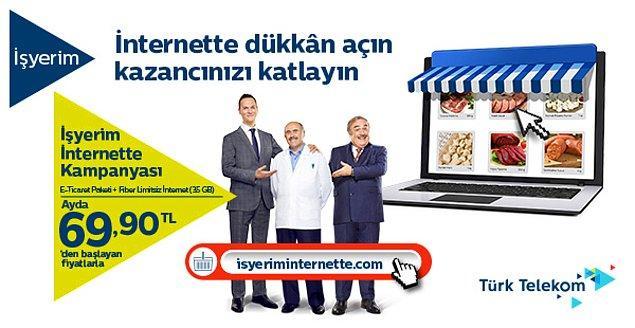 E-ticaret sitesi olmayan ve bu yüzden kazancını artıramayan hiç bir işletme kalmasın diye Türk Telekom yine işbaşında