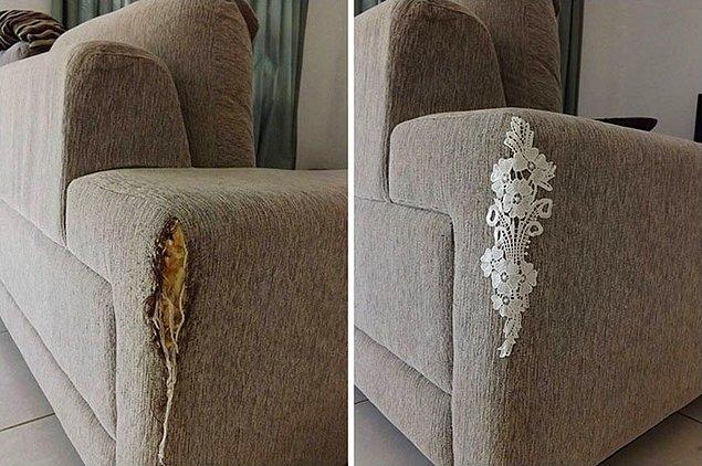 7. Yıpranan, kedi tırmığından zarar gören koltuklarınıza dantel.