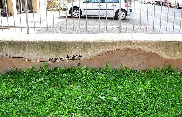 11. Çatlayan duvarda develerin çöldeki yolculuğu...