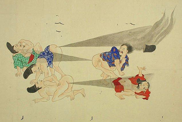 1781'den bir görselle devam edelim. Osuruk Savaşı, japonca orijinaliyle he-gassen adlı parşömenden.