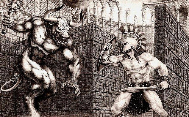 Plutark'ın aktardığı Yunan efsanesine göre, Atina'nın efsanevi kurucusu Theseus, Girit Adasındaki Minotaur'u tek başına öldürüp bir gemi ile eve dönmüştü.