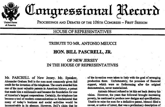 ABD Kongresi Antonio Meucci'nin itibarını iade ediyor