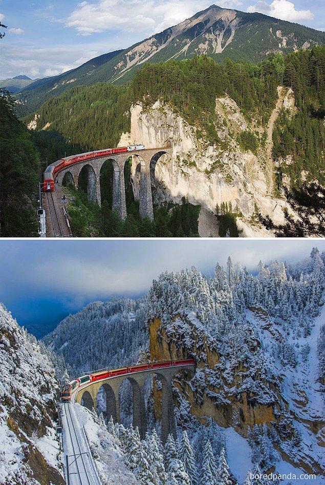 9. Landwasser Viaduct, İsviçre