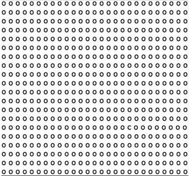 """3. Yuvarlaklar arasında bir tane """"C"""" harfi var. İçinden saymaya başla ve görsele bak. Ne kadar sürede bulabileceksin bakalım?"""