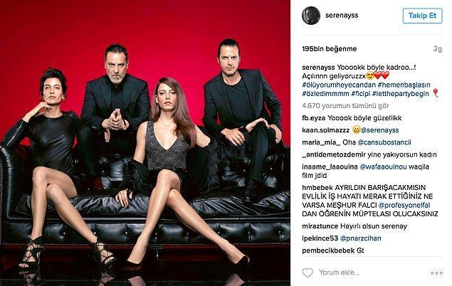 """3. Serenay Sarıkaya, yeni dizisi """"Fi Çi Pi""""yi Instagram hesabından """"Yok böyle bir kadro!"""" notuyla duyurdu."""