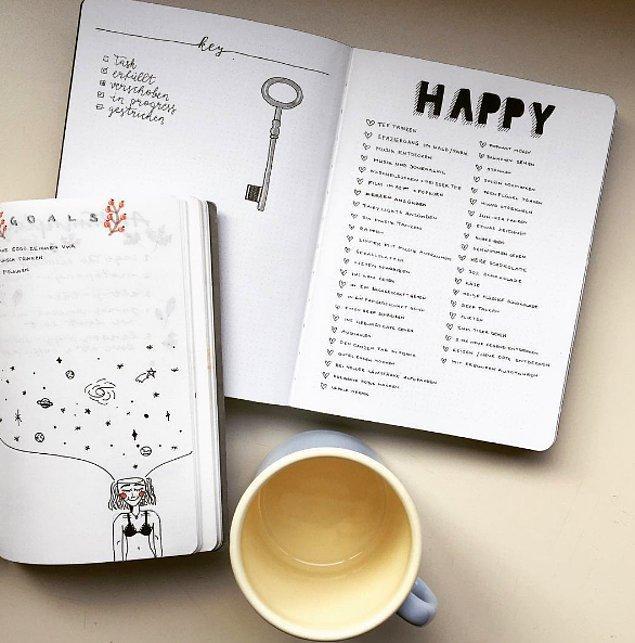 15. Kendinizi mutlu eden şeylerin listesini yapın.