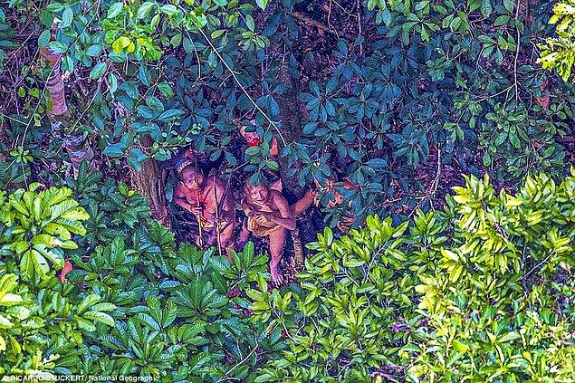 Richard Stuckert aslında bu yerlileri; helikopter uçuşu yön değiştirmek zorunda kaldığı için Amazon semalarında uçarken fotoğraflama şansını buldu.