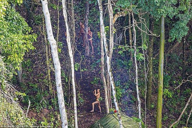 """Fotoğrafçı ile aynı helikopterde seyahat eden Brezilya yerli ilişkileri ajansı çalışanı José Carlos Meirelles, """"Saçlarını hep aynı şekilde kestiklerini sanıyorduk. Ama bu doğru değilmiş. Gördüğünüz gibi birçok çeşitli saç şekli var. Bazıları oldukça punk görünüyor."""""""