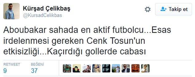 10. Cenk Tosun'un kaçırdığı gollerden sonra;