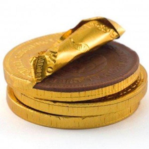 8. Altın para şeklinde çikolatalar