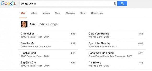 14. Müzik ile de arası iyi Google'ın. İstediğiniz herhangi bir sanatçının şarkılarını, arama motoruna şarkıcının adını yazarak detayları ile birlikte bulabilirsiniz.