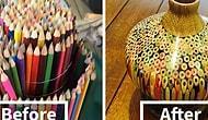 Başarılı Sanatçıdan Tamamen Kalemlerden Oluşan Vazo Yapımı