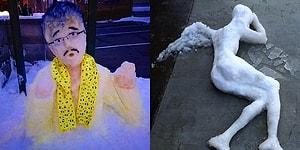 Yoğun Kar Yağışının Olduğu Japonya'da Sanatçı Ruhlu Kişilerin Ellerinden Çıkan 27 Kardan Heykel