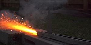 1000 Dereceye Kadar Isıtılmış 240 Km Hıza Sahip Bıçak ile Parçalanan Objeler