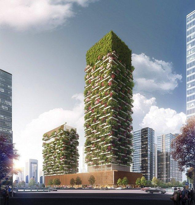 İtalyan mimar Stefano Boeri'nin tasarladığı kulelerin biri 200 metre diğeri ise 107 metre yüksekliğinde inşa edilecek.