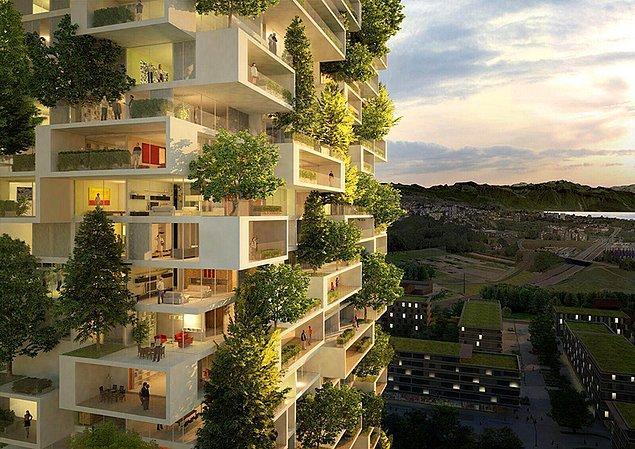 Balkonlar biyolojik çeşitliliği tekrar canlandırmak için tasarlanmış bu güzel dikey ormanların manzarasıyla süslenecek.