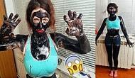 Bütün Vücudunu Siyah Nokta Maskesiyle Kaplayan Bir Acayip Kadın