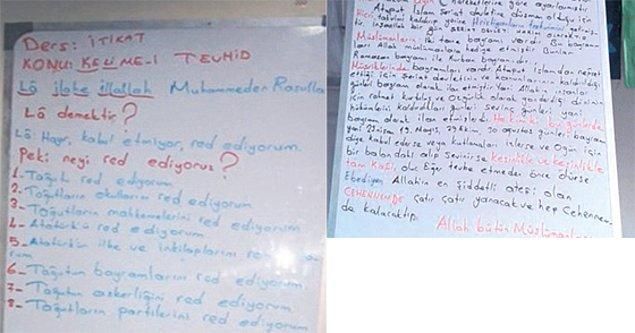 Buna göre Sultanbeyli ilçesindeki okulda bulunan ders notlarında 23 Nisan, 19 Mayıs, 29 Ekim ve 30 Ağustos gibi milli bayramları kutlayanların 'kafir' olacağı savunuluyor...