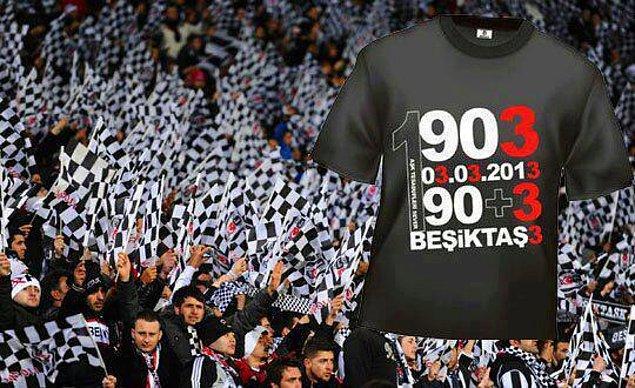 10. 03.03.2013'te oynanan Beşiktaş - Fenerbahçe derbisini 90+3'te gelen golle kazanan Beşiktaş'tan 3 göndermeli tişört