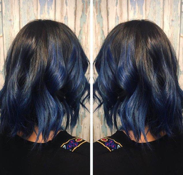 7. Eğer çok büyük bir değişikliğe kendinizi hazır hissetmiyorsanız, bir tutam mavi de size yetecektir.