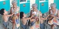 Bakıma Muhtaç Büyükannesini Besleyen Ufaklıktan En Güzel Şefkat Örneği