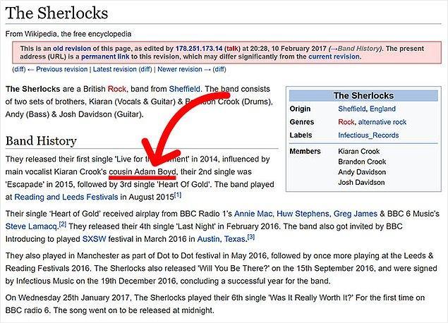 """Hatta Adam Boyd bu Vikipedi sayfasını düzenlerken """"The Sherlocks""""un çıkış parçasında kendisinin etkisi olduğunu yazarak biraz abartmış..."""