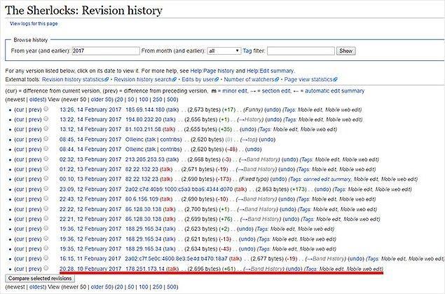 Konserdeki görevliler ise grup hakkında Vikipedi'de yazanların henüz birkaç dakika önce değiştirildiğini fark etmemişti.