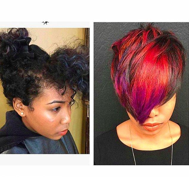 5. Farklı renkleri bir arada kullanmayı sevenler için kırmızı, mor ve yansımaları.