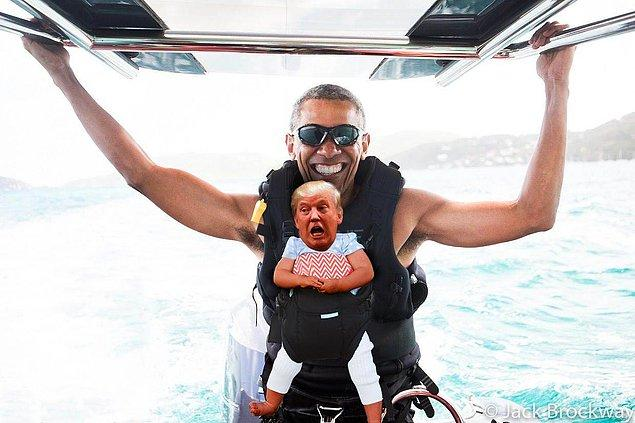 Veee Barack Obama'yla tatile gitti.