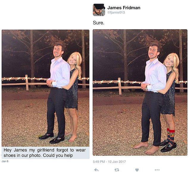10. Selam Jamie kız arkadaşım fotoğraf çekimi için ayakkabı giymeyi unutmuş. Yardım eder misin?