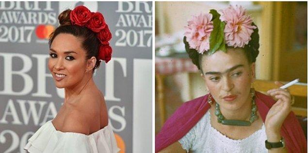 19. Frida Kahlo esintilerini kırmızı halıya taşıyan Myleene Klass.
