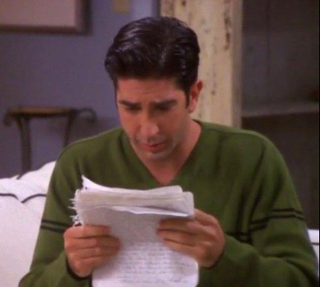 15. Rachel'ın Ross'a yazdığı mektup arkalı önlü kaç sayfaydı?