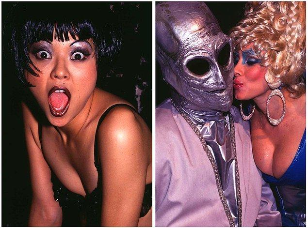 2. Solda: Japon şarkıcı Nokko, 1993 yılında Club USA'de konser verirken. Sağda: Rhonda Shear maskeli bir parti katılımcısını 1995 yılında Film Studio'da öptüğünde.