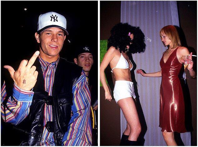 11. Solda: Mark Wahlberg Club USA'de kameralara orta parmak gösterirken, 1993. Sağda: Amber Valletta ve bir arkadaşı Palladium'da doğum gününde dans ederken, 1995.
