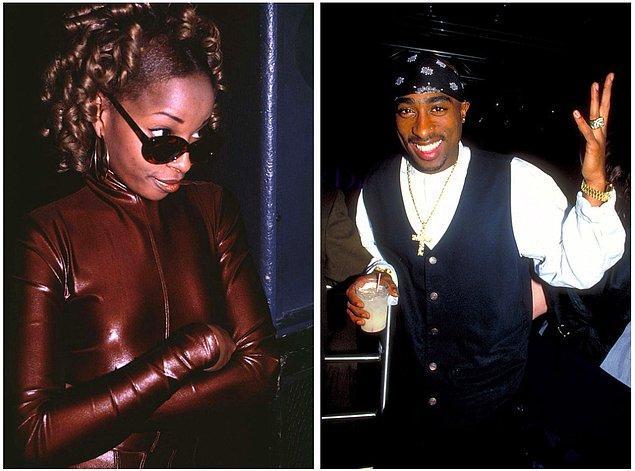 13. Mary J. Blige (solda) ve Tupac Shakur (sağda) Club USA'de kutlama yaparken, 1994.