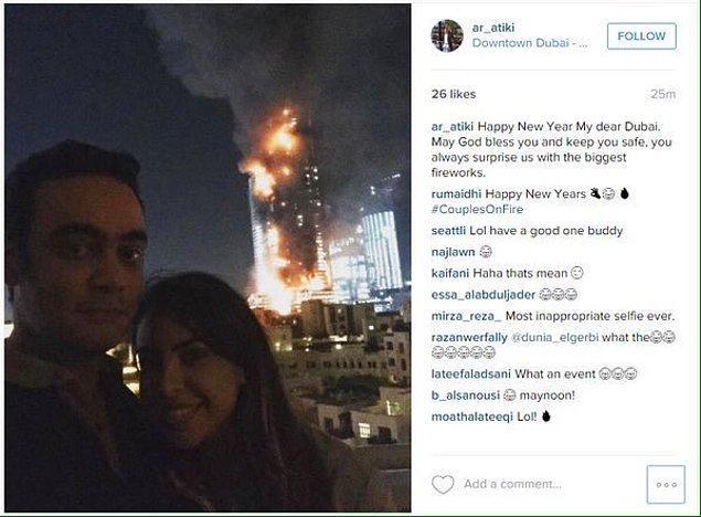 6. 2016'ya girilirken Dubai'de otelde çıkan yangını havaifişek gösterisi sandılarsa aptallar, şakaya vurmuşlarsa daha da aptallar