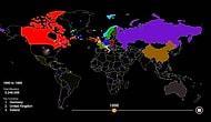 Dünya Haritası Üzerinde ABD'ye Göçün 200 Yılı