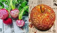 Meyve ve Sebzeler ile Oyma Sanatı Yapan Japon Sanatçıdan 21 Şahane Eser