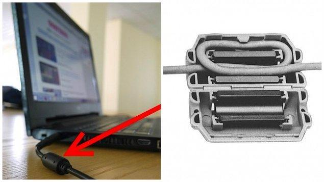 2. Bilgisayarların şarj kablolarında bulunan, kablonun cihaza yakın kısmının üzerinde bulunan silindir yapılı şey: