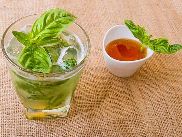 9. Limon+Bal+Toz Şeker+Su+Fesleğen