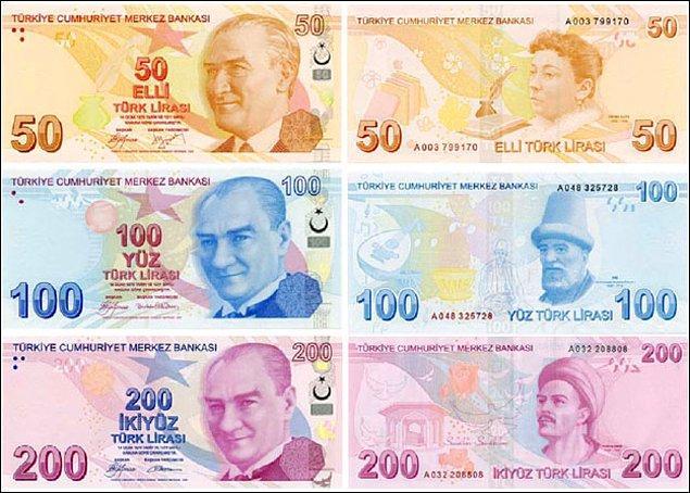 7. Türkiye'de piyasada dolaşan banknot sayısı 1 milyardan fazla.