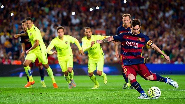 9. Şu ana dek 21 penaltıyı art arda gole çeviren Messi, kazanılan 25 penaltıyı da art arda gol yapan Ronald Koeman'ın bu rekorunu geçemedi.