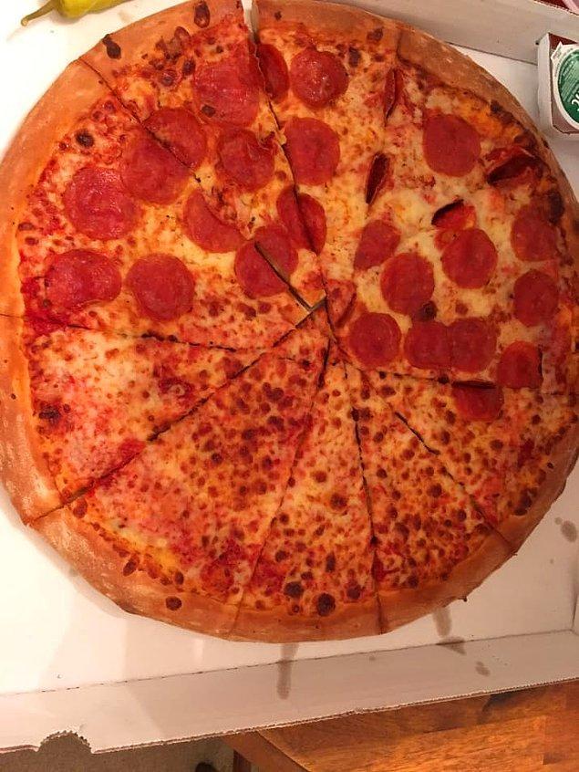 2. Dünyanın en kötü dilimlenmiş pizzası. ☹