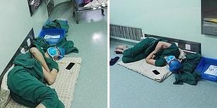 28 Saatlik Mesaiden Sonra Hastane Koridorunda Uyuyan Doktorun Yürek Isıtan Fotoğrafı