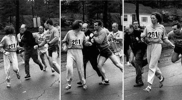 Genç kadın, KV Switzer adıyla kayıt yaptırarak fark edilmeden göğüs numarası alabildi ve yarışa çıktı.