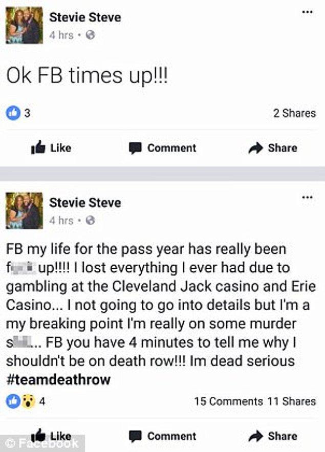 Steve'ın Facebook paylaşımları da felaketin gelişini adım adım gösterir nitelikteymiş.
