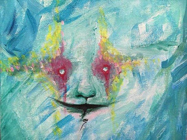 Bu da Kate'in çizdiği oto-portresi. Kate bir keresinde aynaya baktığında gözlerini böyle görmüş ve hemen kağıda kaleme sarılmış.